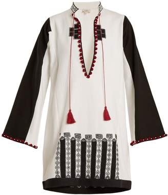 TALITHA Moroccan-embroidery cotton-canvas tunic