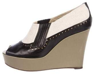Rochas Leather Wedge Pumps