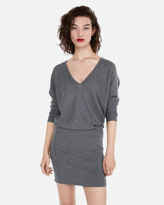 Express Dolman Ribbed Fitted Sweater Dress