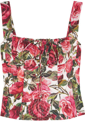 Dolce & Gabbana - Floral-print Cotton-poplin Bustier Top - Red $1,395 thestylecure.com