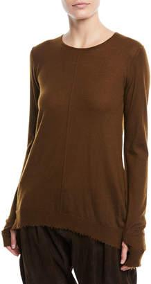 Urban Zen Crewneck Long-Sleeve Cashmere Pullover Sweater