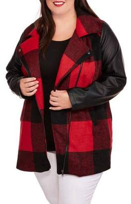 Buffalo David Bitton Maxwell Studio Women's Plus-Size Plaid Faux Wool Coat with Faux Leather Sleeves