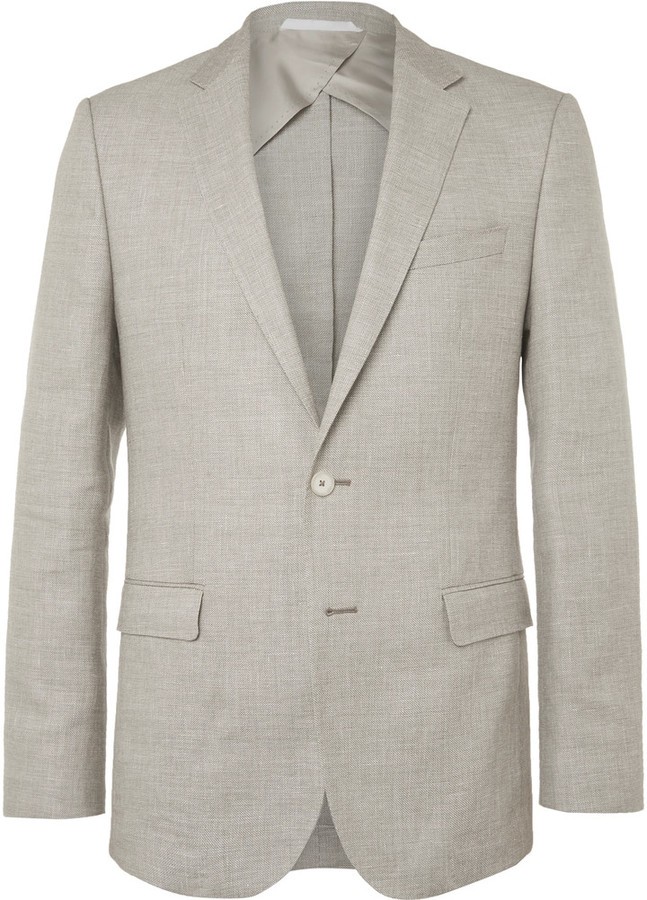 Hugo Boss Hugo Boss Brown Nobis Wool and Linen-Blend Blazer