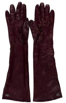 Salvatore Ferragamo Leather Long Gloves Plum Leather Long Gloves