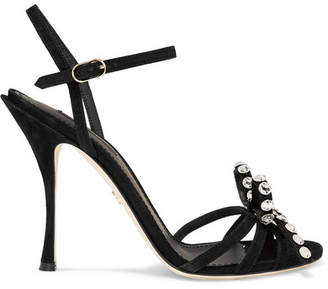 Dolce & Gabbana Crystal And Bow-embellished Suede Sandals - Black