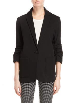 Max Studio Petite Black Ruched Sleeve Blazer