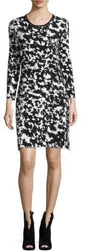 Burberry Burberry Long-Sleeve Two-Tone Sheath Dress, Natural White/Black