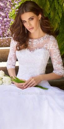 Camille La Vie Lace applique illusion tulle wedding dress $800 thestylecure.com