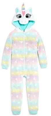 Dream Life Girls' Heart-Print Fleece Unicorn Coverall - Little Kid, Big Kid