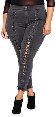 Addition Elle Nadia For L And L Plus Nadia Aboulhosn Front Lace-up Jeggings $92 thestylecure.com