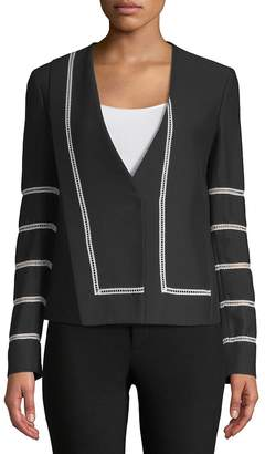 Derek Lam Women's Collarless Lace Inset Jacket