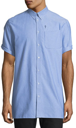 Givenchy Chambray Short-Sleeve Button-Down Shirt with Pocket, Light Blue $565 thestylecure.com