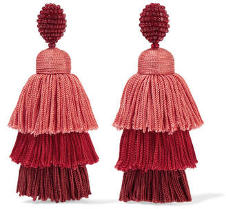 Tiered Beaded Tassel Clip Earrings - one size