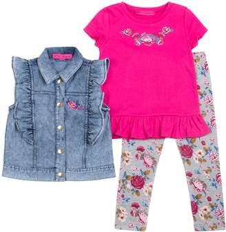 Betsey Johnson Baby Ruffled Denim Vest, Embroidered Tee & Printed Leggings Set