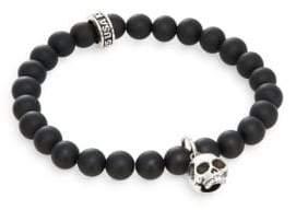 King Baby Studio Black Onyx & Sterling Silver Beaded Skull Charm Bracelet