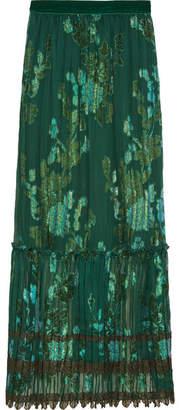 Anna Sui - Iridescent Moonlight Garden Fil Coupé Silk-blend Chiffon Skirt - Green