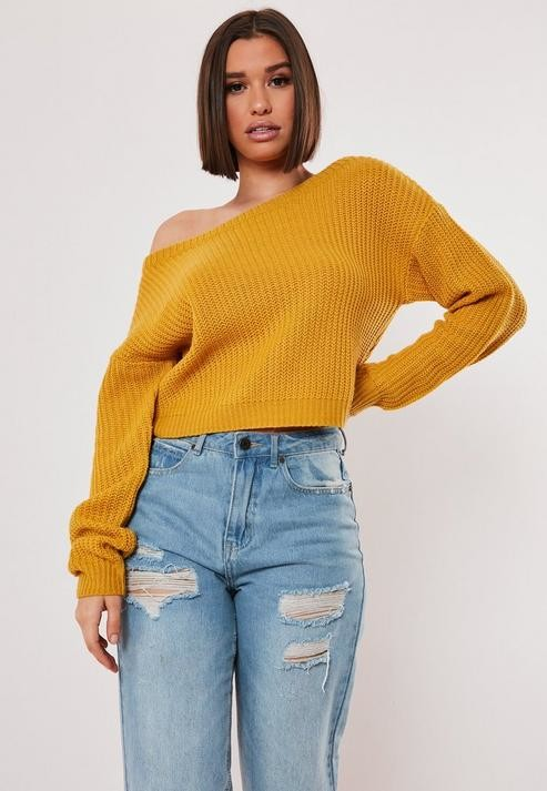 Mustard Yellow Crop Off Shoulder Sweater