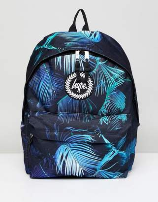 Hype Neon Palm Print Backpack In Black