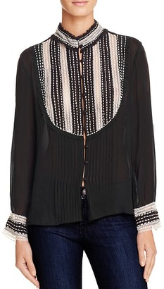 Love Sam Lace-Inset Pleated Blouse $325 thestylecure.com