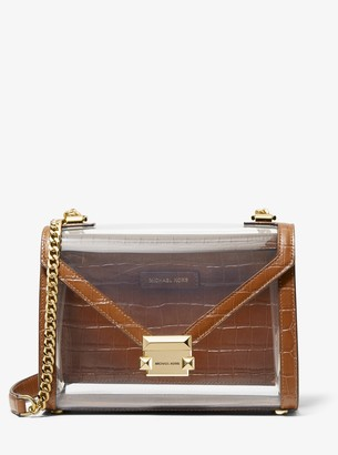 MICHAEL Michael Kors Whitney Large Clear and Leather Convertible Shoulder Bag