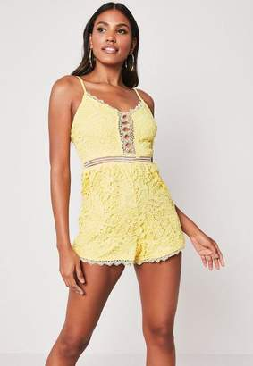 Missguided Yellow Crochet Lace Romper