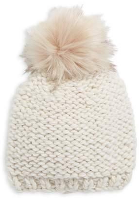 Echo Braided Knit Faux Fur Pom Beanie