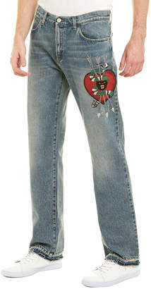 Gucci Embroidered Straight Leg Denim Jean