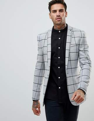 Asos Super Skinny Blazer In Grey Wool Mix With Green Windowpane Check