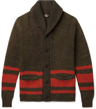 RRL Shawl-Collar Striped Cotton And Wool-Blend Cardigan