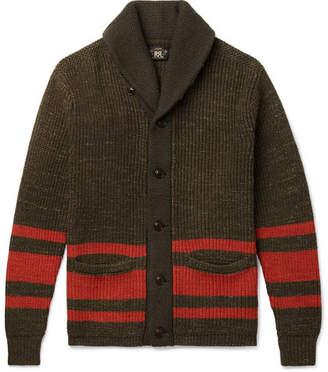 Rrl RRL - Shawl-Collar Striped Cotton and Wool-Blend Cardigan - Green