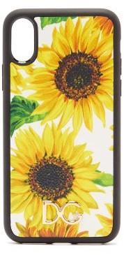 Dolce & Gabbana Sunflower Print Dauphine Leather Iphone X Case - Womens - White Multi