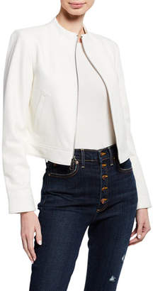 Alice + Olivia Yardley Mock-Neck Zip-Front Lambskin Leather Crop Jacket
