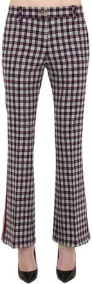 Tommy Hilfiger Tommy Flared Check Stretch Wool Blend Pants