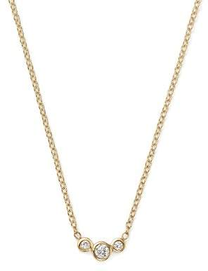 Chicco Zoë 14K Yellow Gold Small Triple Graduated Diamond Curved Bezel Necklace, 14""