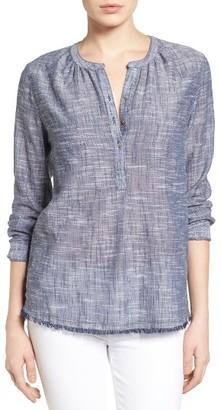 Women's Caslon Fringe Hem Cotton Tunic $59 thestylecure.com