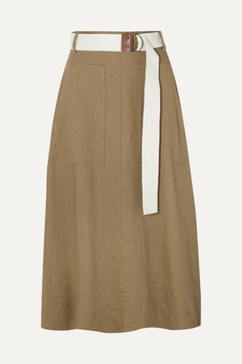Tibi Linen-blend Twill Wrap Midi Skirt - Army green