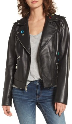 Women's Sam Edelman Grommet Detail Leather Jacket