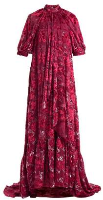 Erdem Neala Velvet Fil Coupe Voile Dress - Womens - Dark Pink