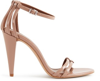 Reiss ILSA LEATHER OPEN TOE SANDALS Nude