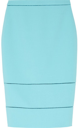 Elizabeth and James - Wheeler Pointelle-trimmed Stretch-ponte Pencil Skirt - Turquoise $285 thestylecure.com
