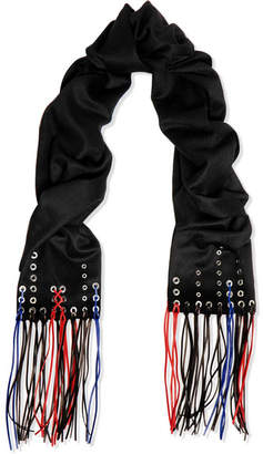 Alexander McQueen Faux Leather-trimmed Cashmere Scarf - Black
