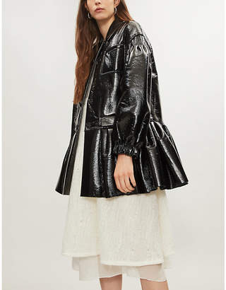HUISHAN ZHANG Pleated-hem faux-leather coat