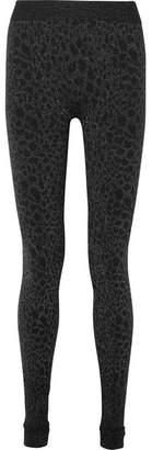 Wolford Eleonor Glittered Leopard-print Stretch-jersey Leggings - Black