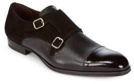 Mezlan Mixed Leather Monk Strap Shoes