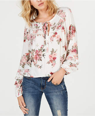 American Rag Juniors' Printed Ruffle-Sleeve Top