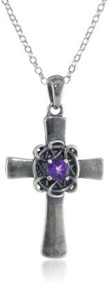 Celtic Sterling Oxidized Genuine Garnet Cross Pendant Necklace