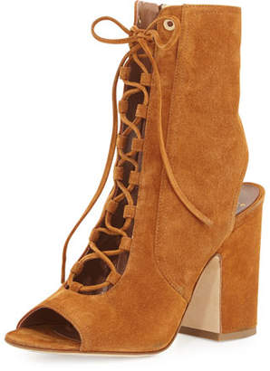 Laurence Dacade Nelly Suede Lace-Up Booties, Camel