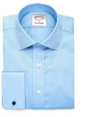 Hamilton Solid Pique French Cuff Shirt in Blue