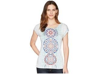 Tribal Printed Jersey Cap Sleeve Top Women's T Shirt