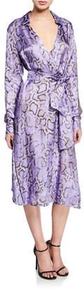 Pinko Amalia Snake-Print Wrap Dress